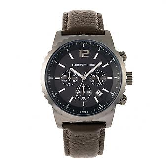 Morphic M67 Series Chronograph Leather-Band Watch w/Date - Gunmetal/Brown