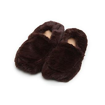 Unisex Cozy Body Microwavable Furry Slippers: Brown