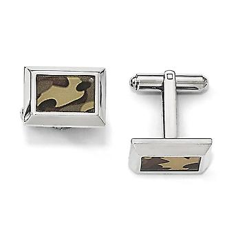 White Stainless Steel Polished Printed Brown Camo Under Rubber Cuff Links