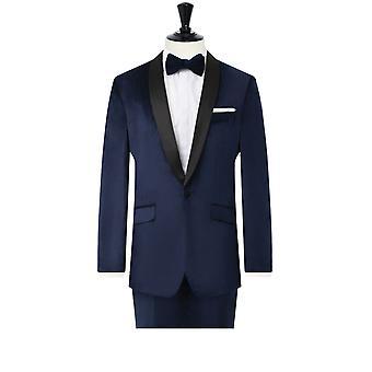 Dobell Mens Navy Velvet 2 Piece Tuxedo Regular Fit Contrast Shawl Lapel