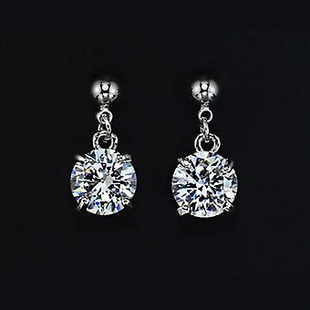 18K Gold Plated Solitaire 2 Carat Cubic Zirconia Drop Earrings