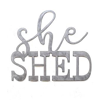 She shed - metal cut sign 15x13in