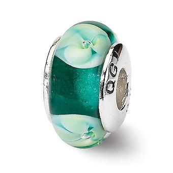 925 Sterling Silber poliert Antike Finish Reflexionen blau Floral Murano Glas Perle Charme