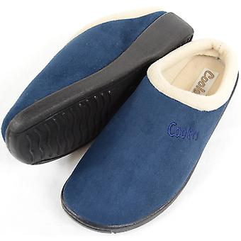 Ladies / Womens Slip On Slippers / Mules with Warm Fleece Lining - Navy - UK 7