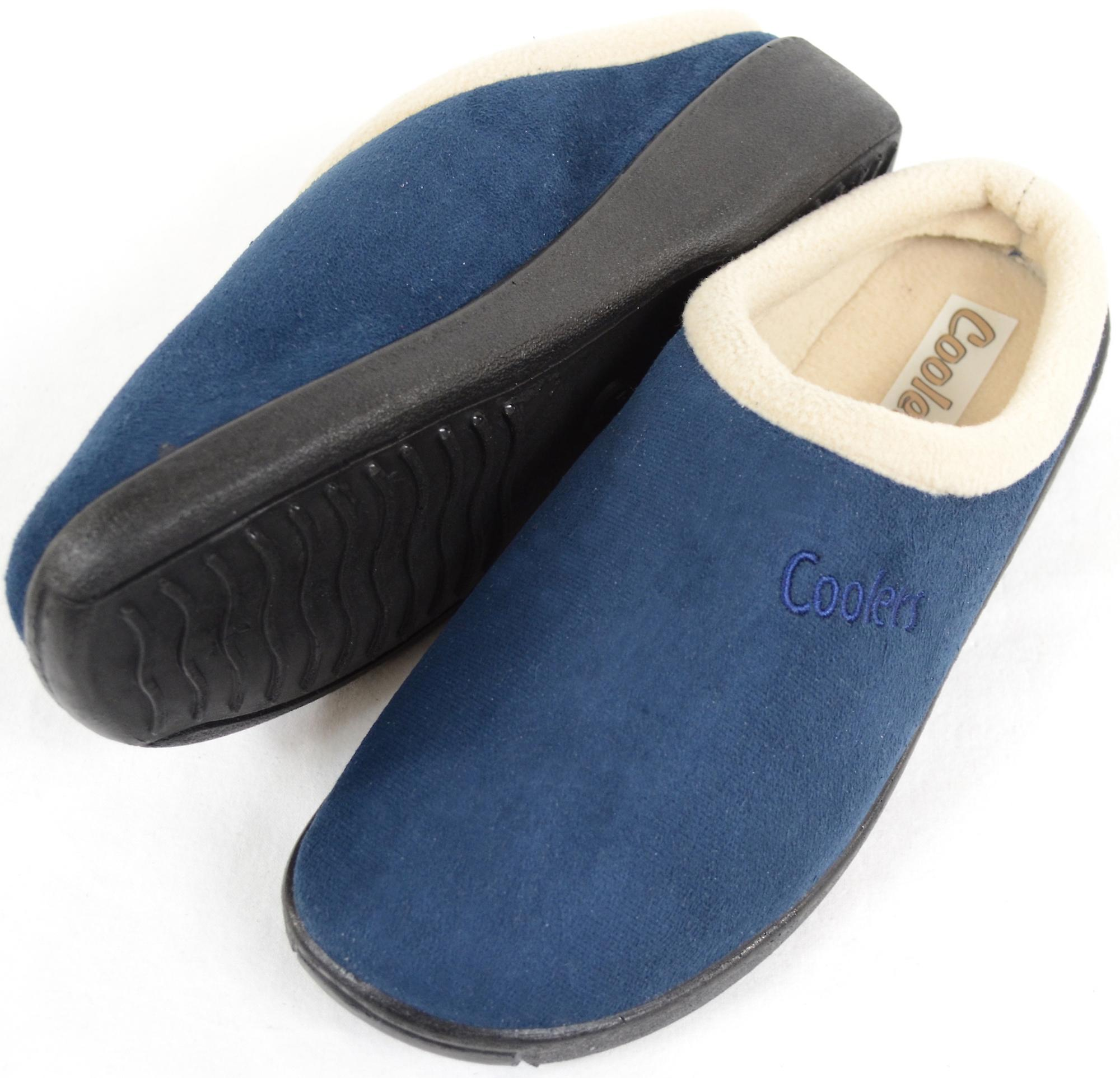 Donna / Womens Slip su pantofole / muli con caldo pile fodera - Navy - UK 7