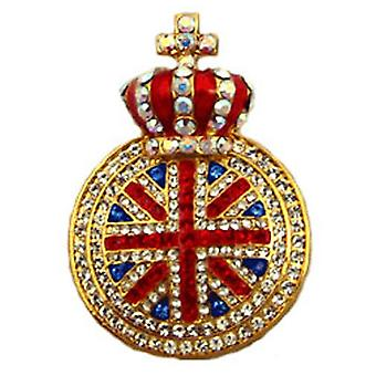 Butler  and  Wilson Small Union Jack with Crown Brooch Pinfold