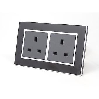 I LumoS AS Luxury Black Mirror  Glass Double Unswitched Wall Plug  13A UK Sockets