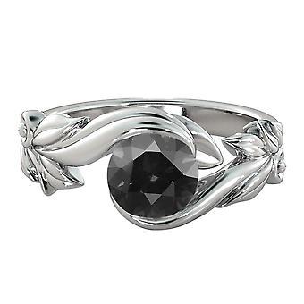 1,50 CT Black Diamond Ring 14k oro bianco fiore foglie design