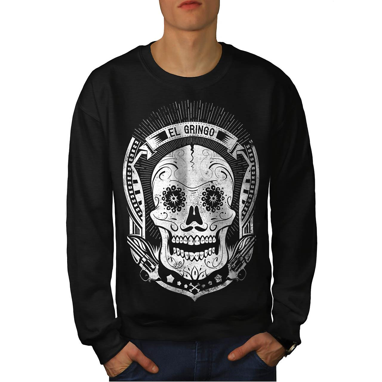 Mexican Skull Death Evil Monster Men Black Sweatshirt | Wellcoda