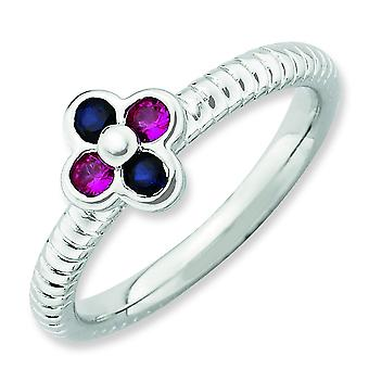 2.25mm Sterling Silver Stackable Expressions Polished Created R and Cr.s Ring - Ring Size: 5 to 10