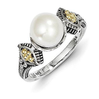 Sterling Silver With 14k 8-8.5mm Freshwater Cultured Pearl Ring - Ring Size: 6 to 8
