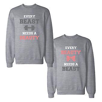 Skønheden og udyret behov hinandens par toppe matchende Sweatshirts
