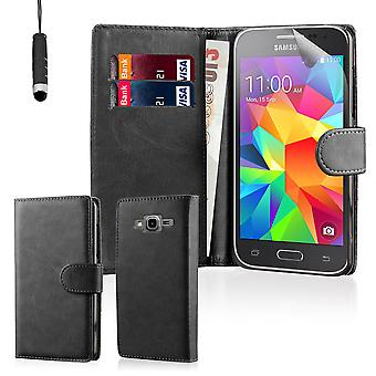 Book wallet case + stylus for Samsung Galaxy Grand Prime G530 - Black