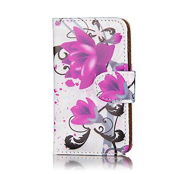 Design Book cuir Housse Etui pour Nokia Lumia 520 525 - Purple Rose