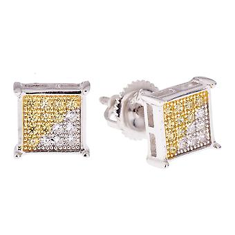 Sterling Silver MICRO PAVE earrings - SQUARE 7 mm silver gd