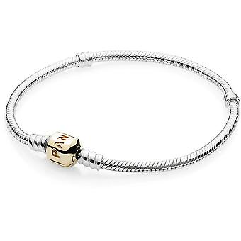 Pandora Sterling Silver Bracelet With 14K Gold Clasp - 590702HG-23