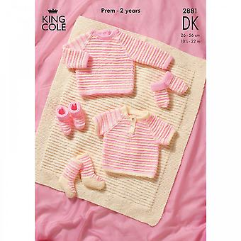 King Cole Pattern 2881 - Sweaters, Blanket And Accessories