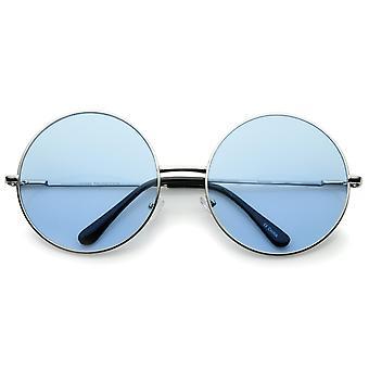 Super Oversize Slim tempel farverige linse runde solbriller 61mm