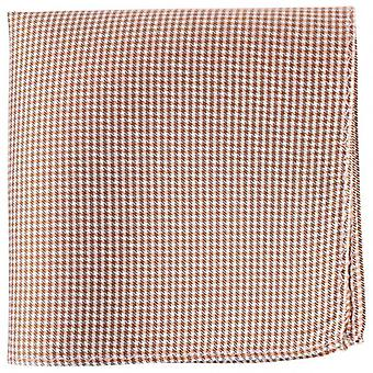 Knightsbridge Neckwear Checked Silk Pocket Square - Orange/White/Black