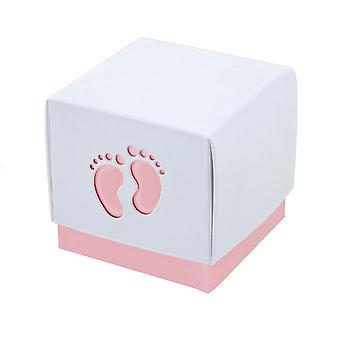 10 roze Baby Footprint vakken 60 x 60 x 600 mm - Baby douches