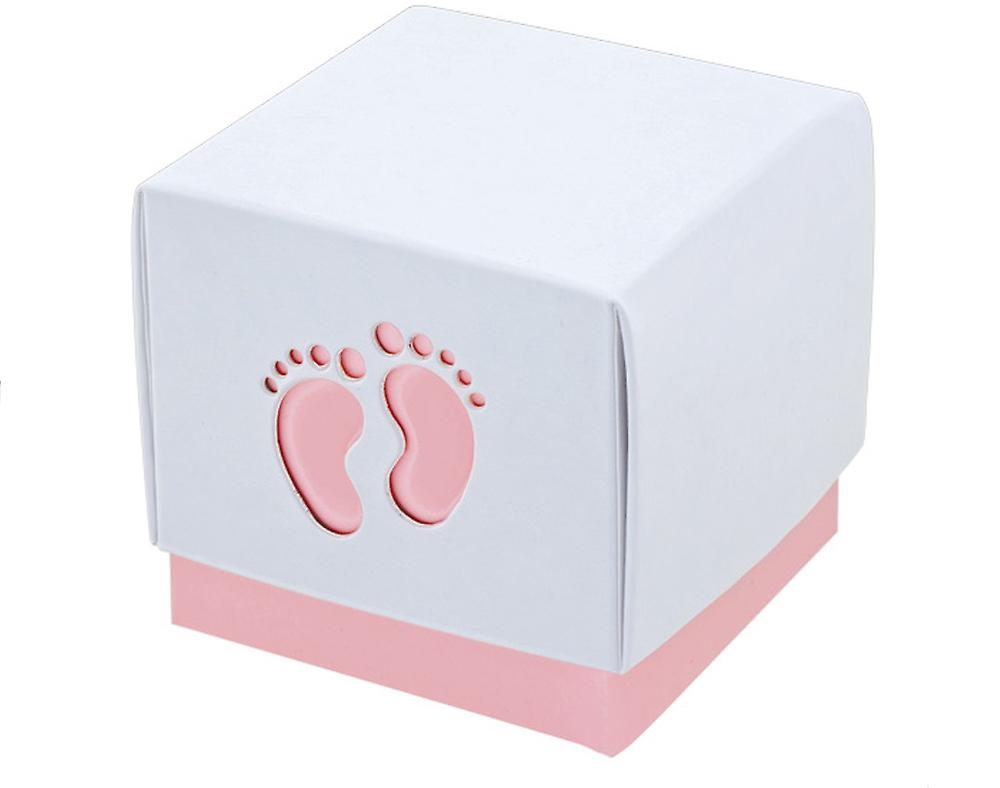 10 Pink Baby Footprint Boxes - Baby Showers | Cardboard Gift Boxes