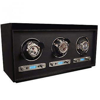 Wolf Designs Meridian Black Wood & Chrome Triple Watch Winder 2.7