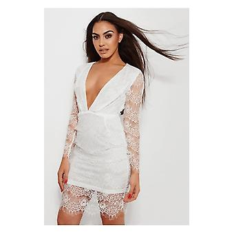 The Fashion Bible Kara White Lace Midi Dress