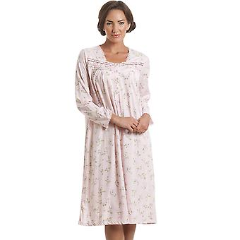 Camille Classic Pink Floral Long Sleeve Nightdress