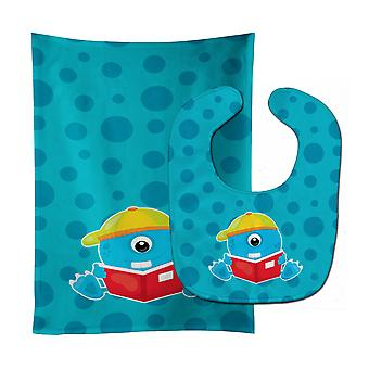 Carolines Treasures  BB8865STBU Monster Blue Baby Bib & Burp Cloth