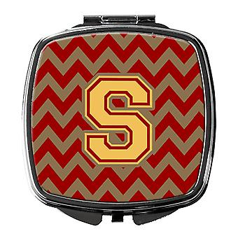 Letter S Chevron Garnet and Gold  Compact Mirror