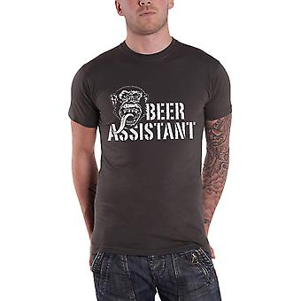 Gas Monkey Garage T Shirt Beer Assistant Monkey Logo Official Mens New Charcoal