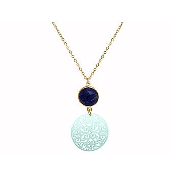 GEMSHINE ladies necklace with mandala and blue Sapphire. Rose gold 45 cm necklace or pendant made of silver, gold plated. Made in Madrid, Spain. Delivered in an elegant gift case.
