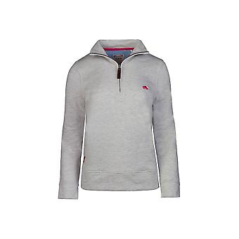 Ladies - 1/4 Zip Sweat - Grey Marl