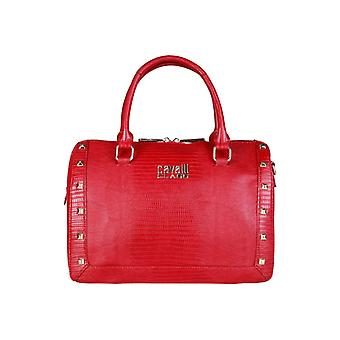 Cavalli Class Womens Red Purse With Studs - Snake Leather Effect