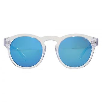 Levis Keyhole Round Sunglasses In Clear Blue Mirror