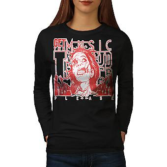 Loud Zombie Please Music Women BlackLong Sleeve T-shirt | Wellcoda