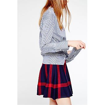 Gracia Check Knit Flared Mini Skirt
