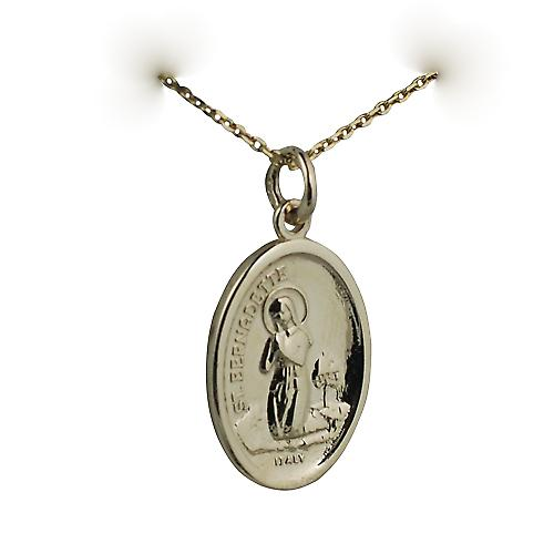 9ct Gold 21x15mm oval St Bernadette Pendant with a cable Chain 16 inches Only Suitable for Children