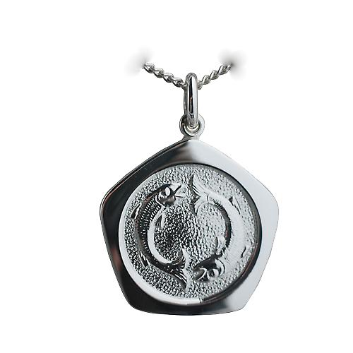 Silver 21mm five sided Pisces Zodiac Pendant with a curb Chain 20 inches