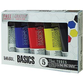 Liquitex Basics acrylverf 75Ml Tube 5 Pkg assorti kleuren 101082