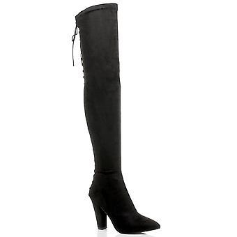 Ajvani damskie wysoki blok pięty koronki up gorset wskazał na buty kolanowe tylny zamek
