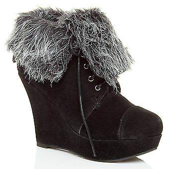 Ajvani womens high heel wedge platform fur cuff winter lace up ankle boots shoes