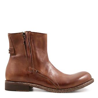 Leonardo shoes men's 840212PAPUAWHISKY brown leather ankle boots