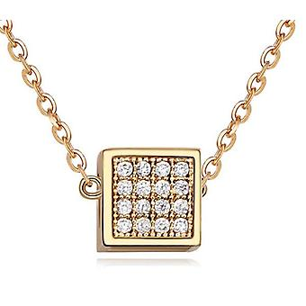 Womens Gold Small Cube Pendant Necklace With Crystal Elements