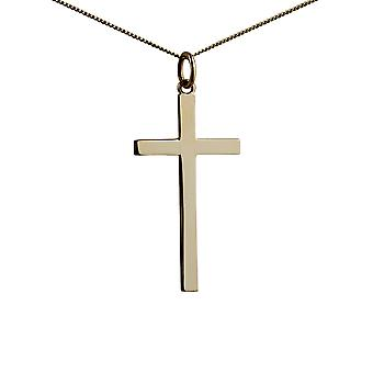9ct Gold 30x17mm plain solid block Cross with a curb Chain 16 inches Only Suitable for Children