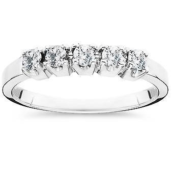 1/4ct 5 Stone Diamond Wedding Ring 14K White Gold