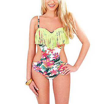 Boutique, Ladies Tropical Floral Cut Out Side Swimsuit with Tassels, UK 10