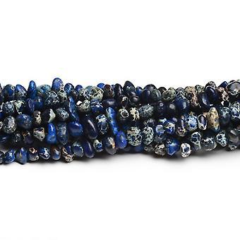 60 + niebieski wrażenie Jasper OK. 8 x 12mm barwiona gładkie Nugget koraliki CB41840-1