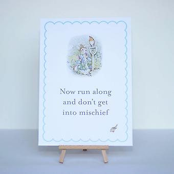 PETER RABBIT Now Run Along Card Sign with Easel Birthday Party Christening