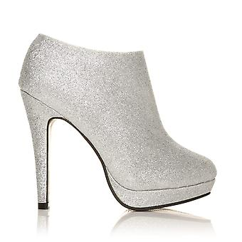 H20 Silver Glitter Stilleto Very High Heel Ankle Shoe Boots